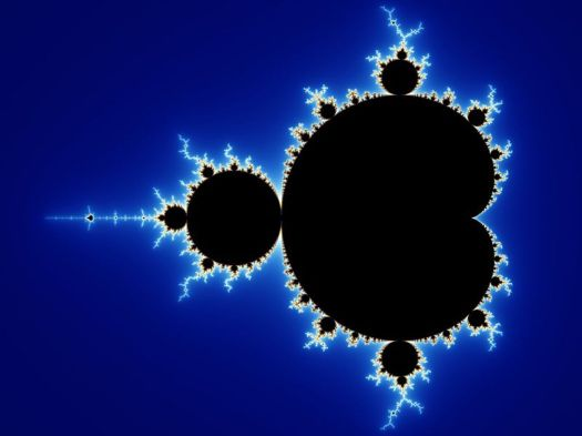The Mandelbröt set, a famous fractal that can only be drawn by computers. Note how smaller pieces of the set closely resemble the whole.(Wikimedia Commons)