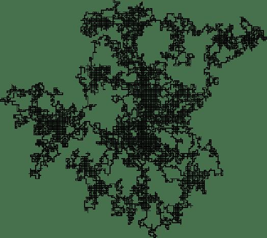 A discrete two-dimensional random walk (Wikimedia commons)